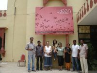 Udaan 2012 Short Film Festival organising committee in front of the Kota Art Centre with the festival banner